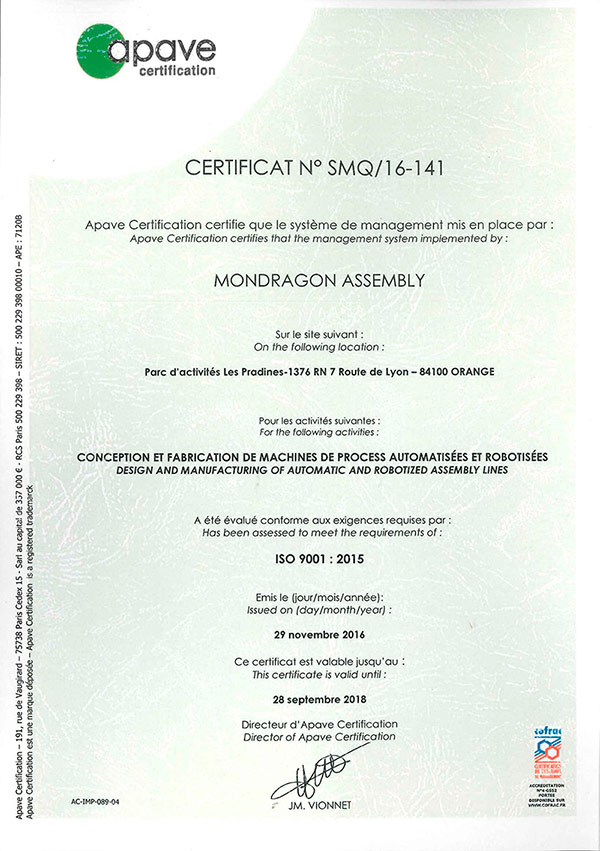 Mondragon Assembly France Is Awarded With The New Certification Iso